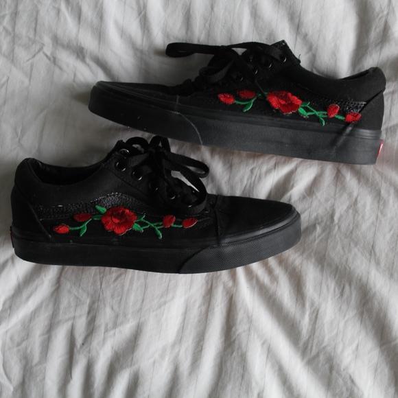 Vans Custom Applique Floral Roses Black Sneakers